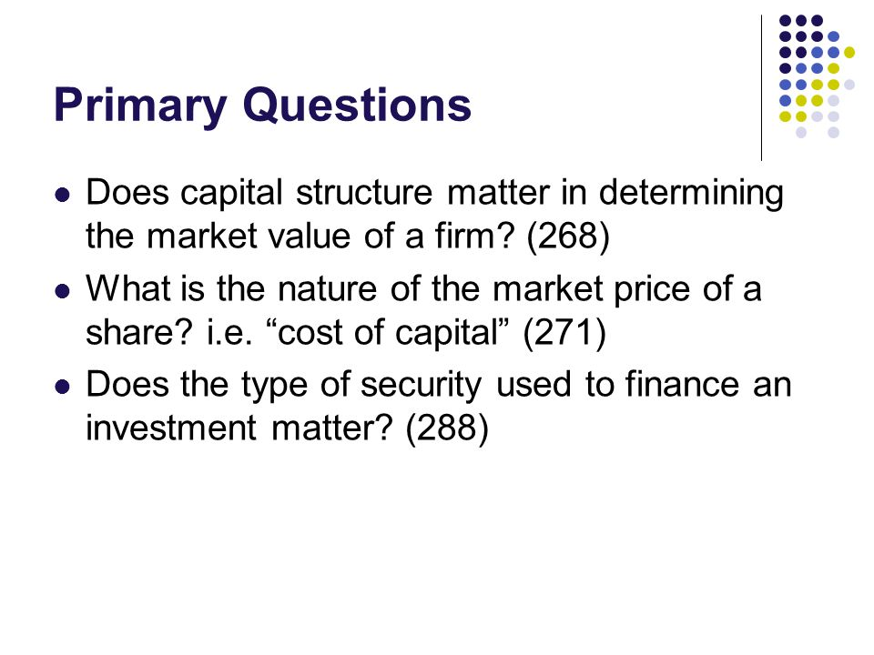 Assumptions Assume firms can be divided into classes wherein firms with returns on shares proportional to each other are grouped together Then all firms can be characterized by 1) class 2) expected return Assume bonds yield a constant income per unit of time, and that they are traded in a perfect market