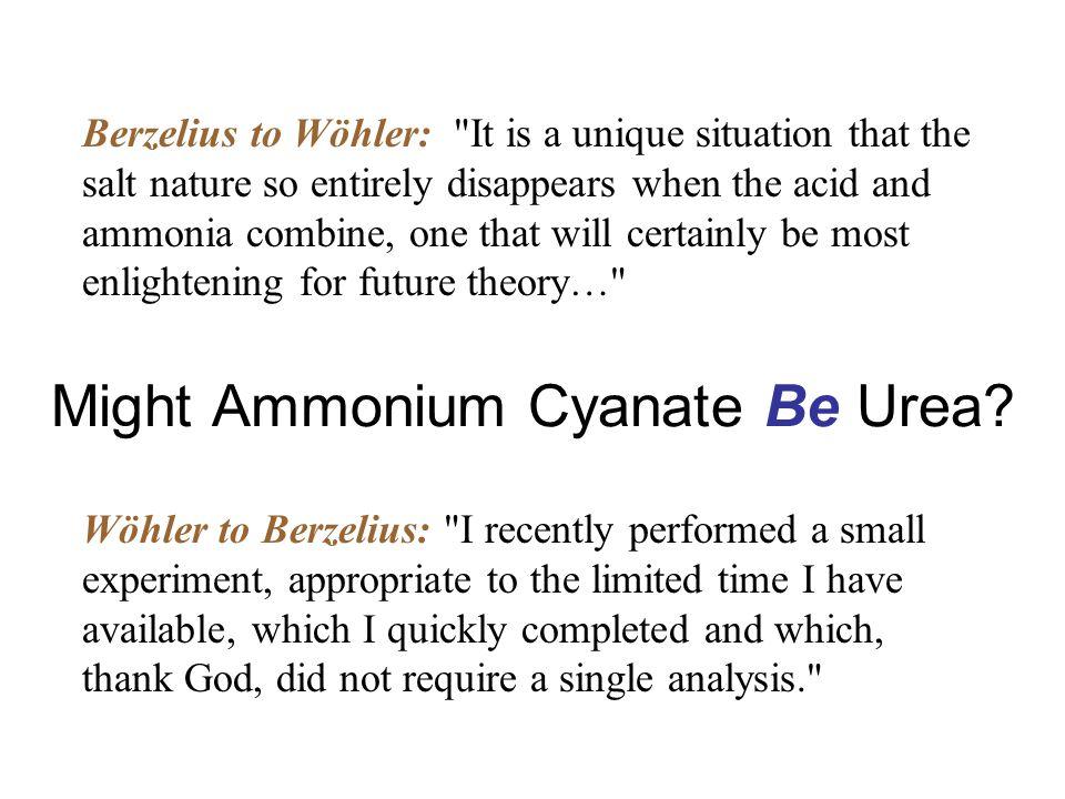 Might Ammonium Cyanate Be Urea.