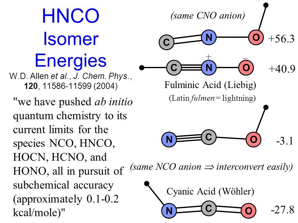 HNCO Isomer Energies W.D. Allen et al., J. Chem.