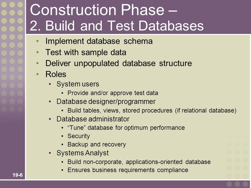 19-6 Construction Phase – 2. Build and Test Databases Implement database schema Test with sample data Deliver unpopulated database structure Roles Sys