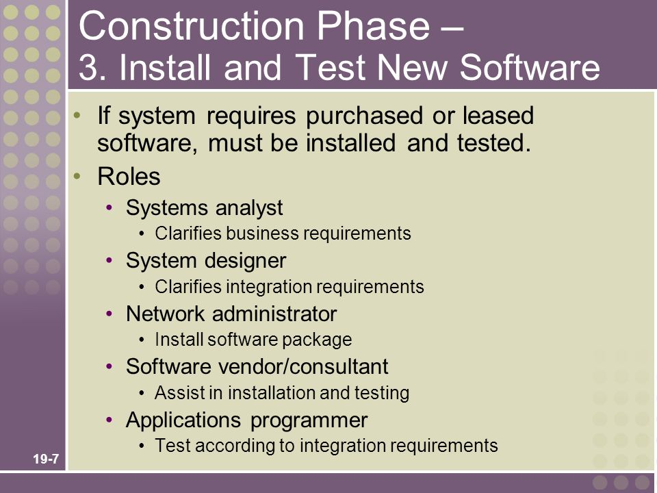 19-7 Construction Phase – 3. Install and Test New Software If system requires purchased or leased software, must be installed and tested. Roles System