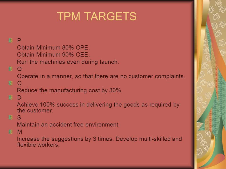 TPM TARGETS P Obtain Minimum 80% OPE. Obtain Minimum 90% OEE. Run the machines even during launch. Q Operate in a manner, so that there are no custome