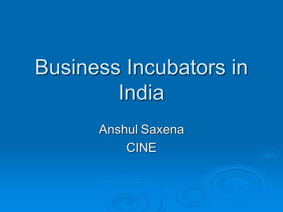 Business Incubators in India Anshul Saxena CINE