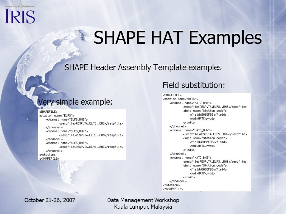 October 21-26, 2007Data Management Workshop Kuala Lumpur, Malaysia SHAPE HAT Examples SHAPE Header Assembly Template examples Very simple example: Fie