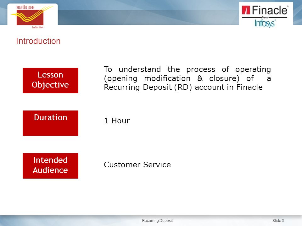 Recurring Deposit Slide 3 Introduction Lesson Objective Duration Intended Audience To understand the process of operating (opening modification & closure) of a Recurring Deposit (RD) account in Finacle 1 Hour Customer Service