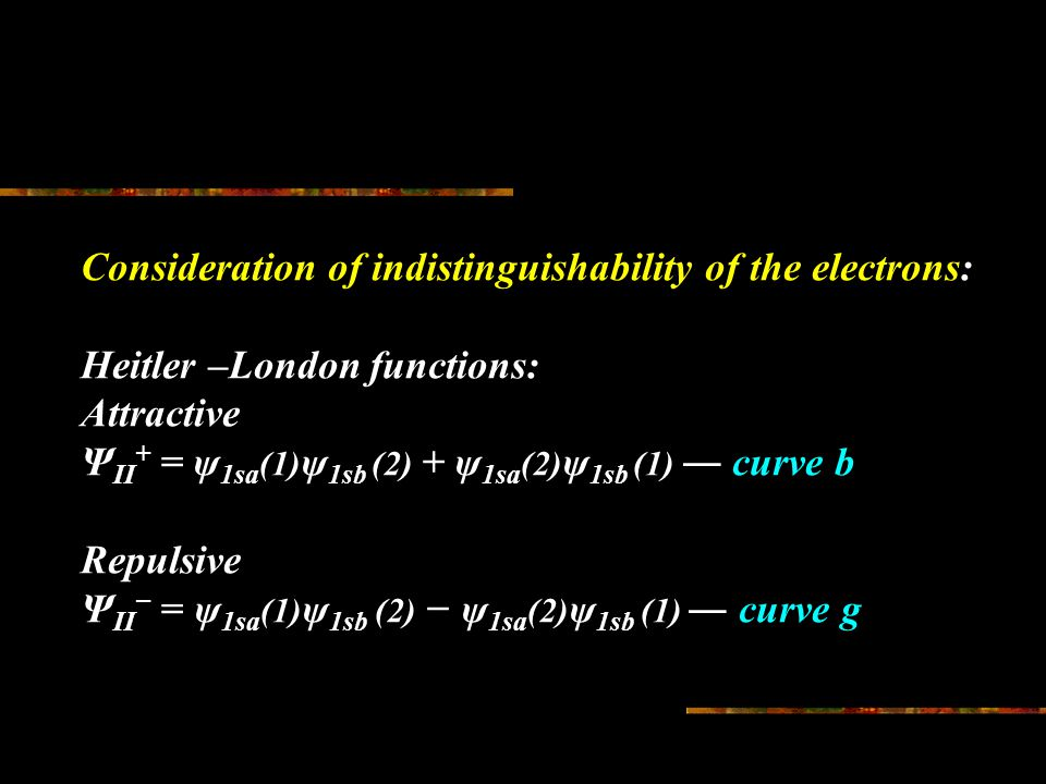 Consideration of indistinguishability of the electrons: Heitler –London functions: Attractive Ψ II + = ψ 1sa (1) ψ 1sb (2) + ψ 1sa (2) ψ 1sb (1) ― curve b Repulsive Ψ II − = ψ 1sa (1) ψ 1sb (2) − ψ 1sa (2) ψ 1sb (1) ― curve g