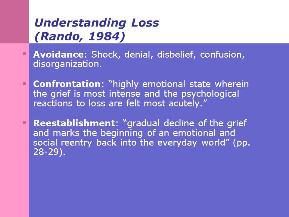Understanding Loss (Rando, 1984)  Avoidance: Shock, denial, disbelief, confusion, disorganization.