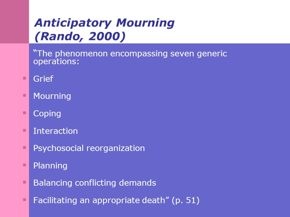 Anticipatory Mourning (Rando, 2000) The phenomenon encompassing seven generic operations:  Grief  Mourning  Coping  Interaction  Psychosocial reorganization  Planning  Balancing conflicting demands  Facilitating an appropriate death (p.