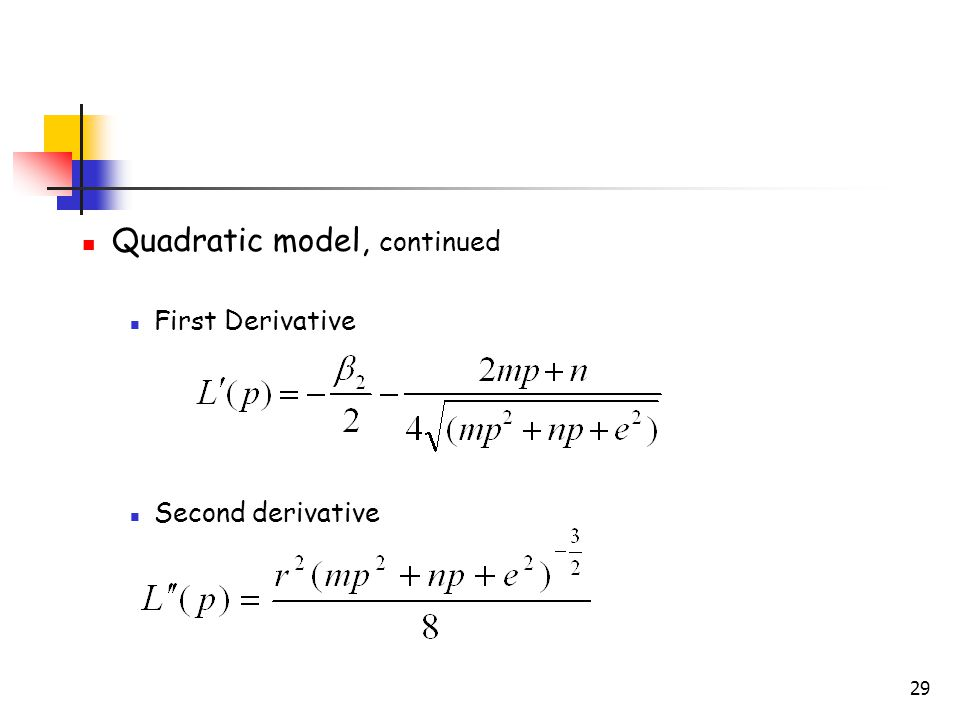 29 Quadratic model, continued First Derivative Second derivative