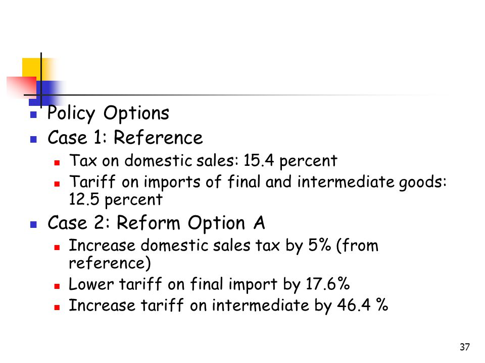 37 Policy Options Case 1: Reference Tax on domestic sales: 15.4 percent Tariff on imports of final and intermediate goods: 12.5 percent Case 2: Reform Option A Increase domestic sales tax by 5% (from reference) Lower tariff on final import by 17.6% Increase tariff on intermediate by 46.4 %