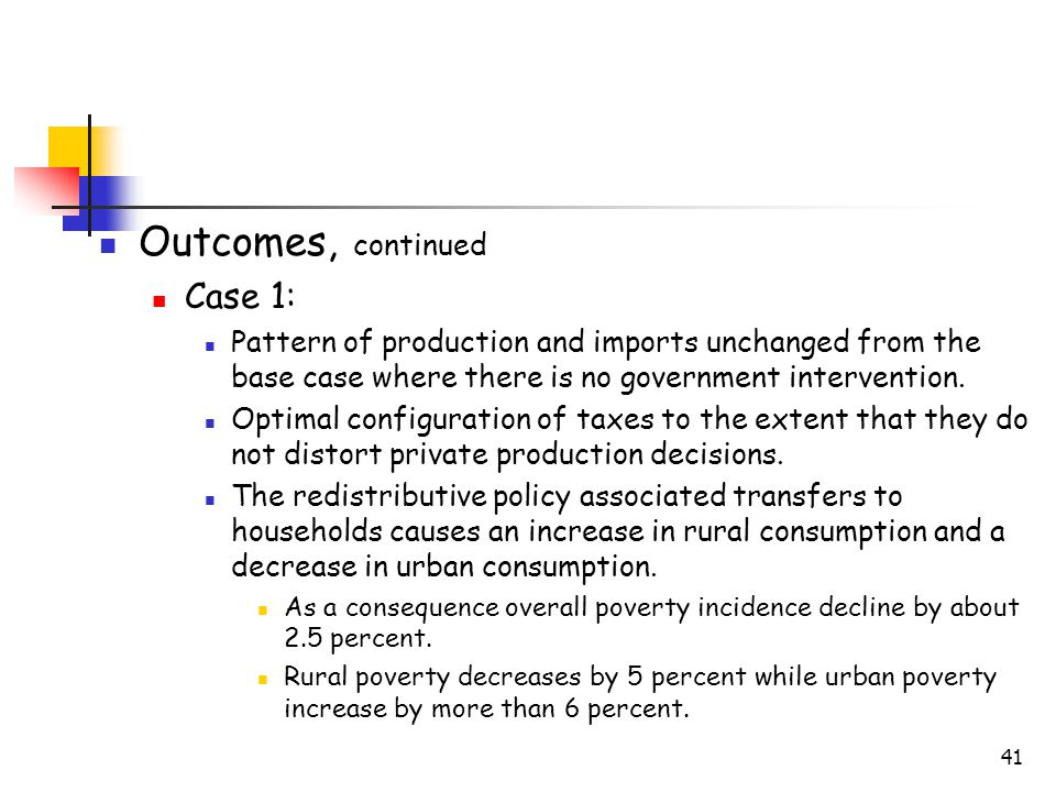 41 Outcomes, continued Case 1: Pattern of production and imports unchanged from the base case where there is no government intervention.