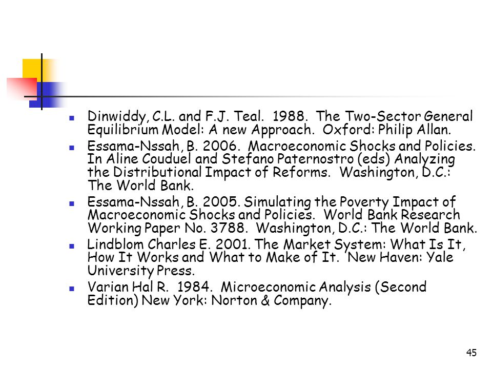 45 Dinwiddy, C.L. and F.J. Teal. 1988. The Two-Sector General Equilibrium Model: A new Approach.