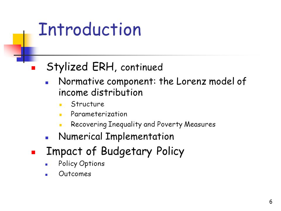 6 Introduction Stylized ERH, continued Normative component: the Lorenz model of income distribution Structure Parameterization Recovering Inequality a