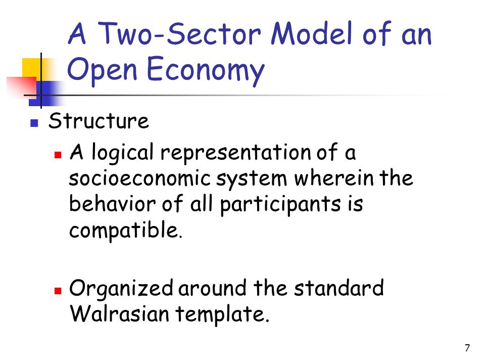 7 A Two-Sector Model of an Open Economy Structure A logical representation of a socioeconomic system wherein the behavior of all participants is compatible.
