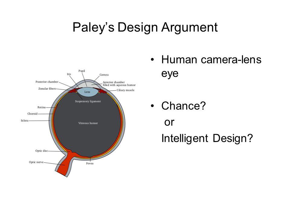 Paley's Design Argument Human camera-lens eye Chance? or Intelligent Design?
