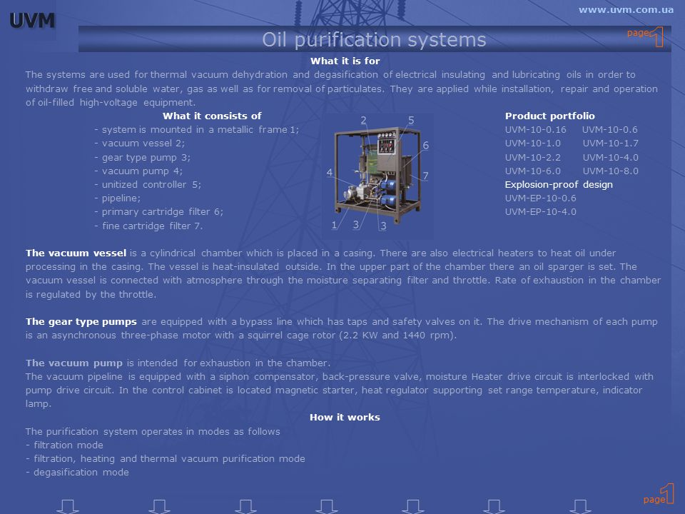 Oil purification systems What it is for The systems are used for thermal vacuum dehydration and degasification of electrical insulating and lubricating oils in order to withdraw free and soluble water, gas as well as for removal of particulates.
