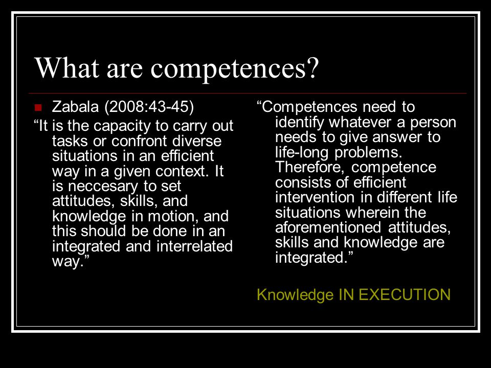 What are competences.