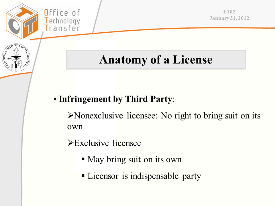 E102 January 31, 2012 Infringement by Third Party:  Nonexclusive licensee: No right to bring suit on its own  Exclusive licensee  May bring suit on its own  Licensor is indispensable party Anatomy of a License