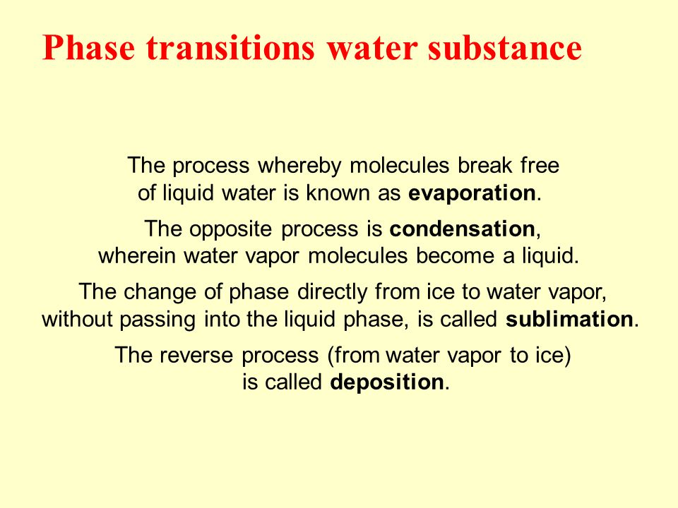 The process whereby molecules break free of liquid water is known as evaporation. The opposite process is condensation, wherein water vapor molecules