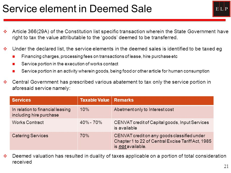 Service element in Deemed Sale  Article 366(29A) of the Constitution list specific transaction wherein the State Government have right to tax the val