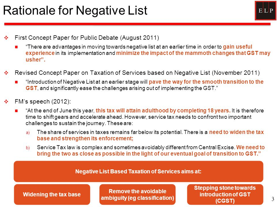 "Rationale for Negative List  First Concept Paper for Public Debate (August 2011) ""There are advantages in moving towards negative list at an earlier"