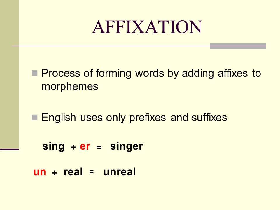 AFFIXATION Process of forming words by adding affixes to morphemes English uses only prefixes and suffixes sing + er = singer un + real = unreal
