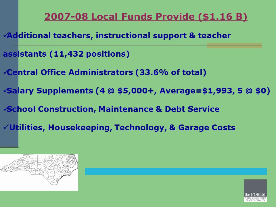 2007-08 Local Funds Provide ($1.16 B) Additional teachers, instructional support & teacher assistants (11,432 positions) Central Office Administrators (33.6% of total) Salary Supplements (4 @ $5,000+, Average=$1,993, 5 @ $0) School Construction, Maintenance & Debt Service Utilities, Housekeeping, Technology, & Garage Costs