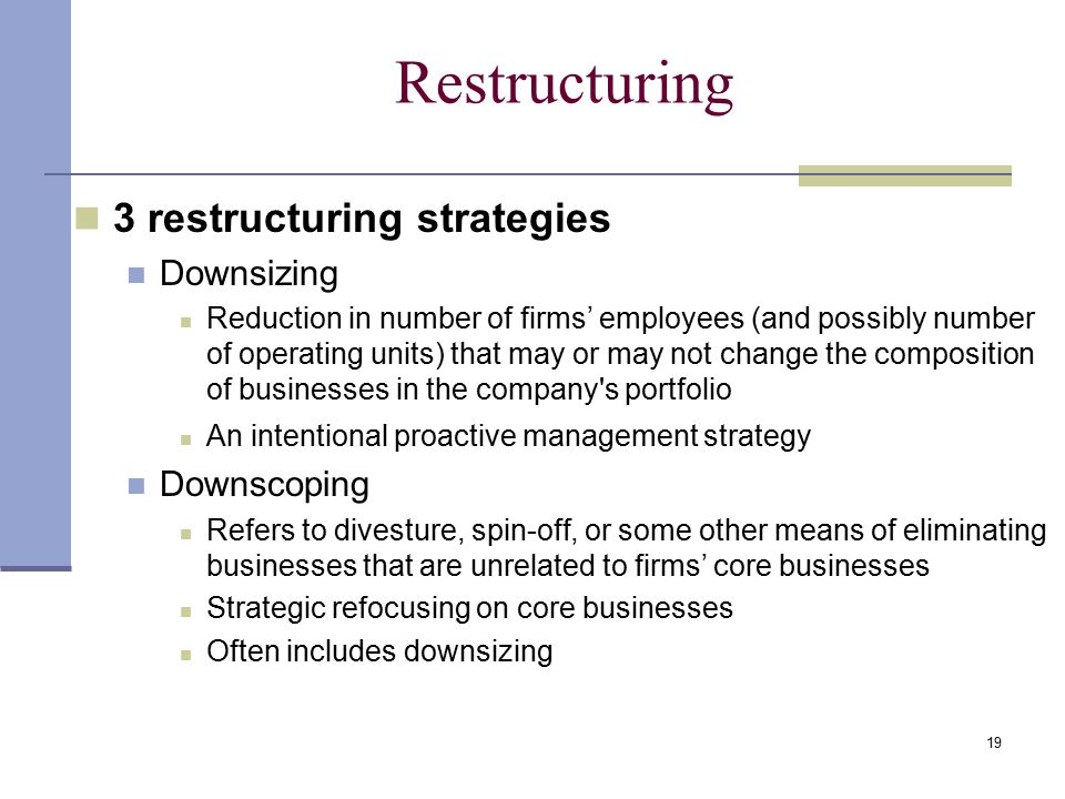 19 Restructuring 3 restructuring strategies Downsizing Reduction in number of firms' employees (and possibly number of operating units) that may or may not change the composition of businesses in the company s portfolio An intentional proactive management strategy Downscoping Refers to divesture, spin-off, or some other means of eliminating businesses that are unrelated to firms' core businesses Strategic refocusing on core businesses Often includes downsizing