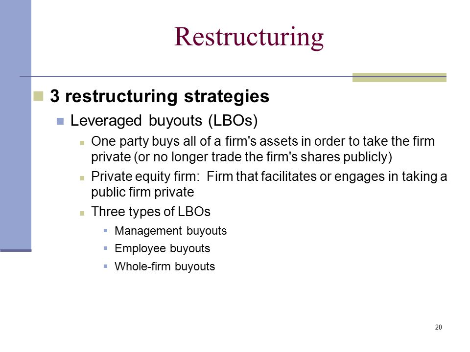 20 Restructuring 3 restructuring strategies Leveraged buyouts (LBOs) One party buys all of a firm s assets in order to take the firm private (or no longer trade the firm s shares publicly) Private equity firm: Firm that facilitates or engages in taking a public firm private Three types of LBOs  Management buyouts  Employee buyouts  Whole-firm buyouts