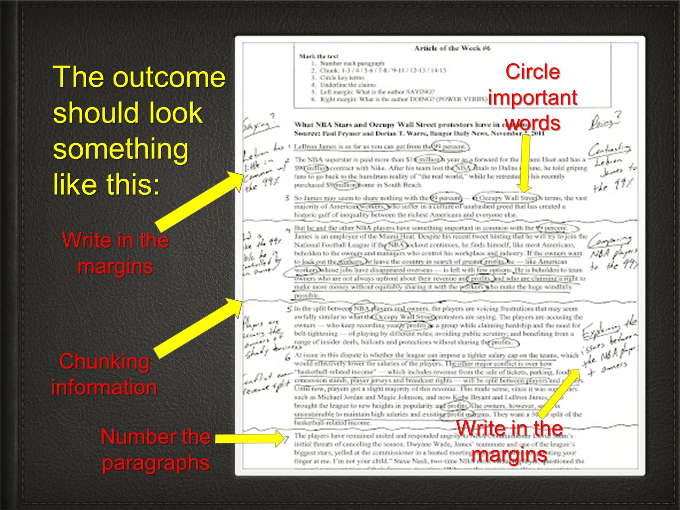 The outcome should look something like this: Chunkinginformation Write in the margins Circle important words Write in the margins Number the paragraph