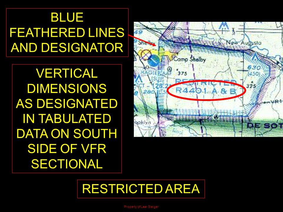 BLUE FEATHERED LINES AND DESIGNATOR RESTRICTED AREA VERTICAL DIMENSIONS AS DESIGNATED IN TABULATED DATA ON SOUTH SIDE OF VFR SECTIONAL Property of Lea
