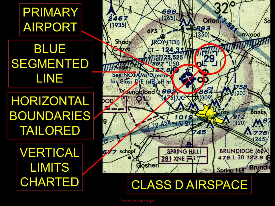 PRIMARY AIRPORT BLUE SEGMENTED LINE HORIZONTAL BOUNDARIES TAILORED VERTICAL LIMITS CHARTED CLASS D AIRSPACE Property of Lear Sielger