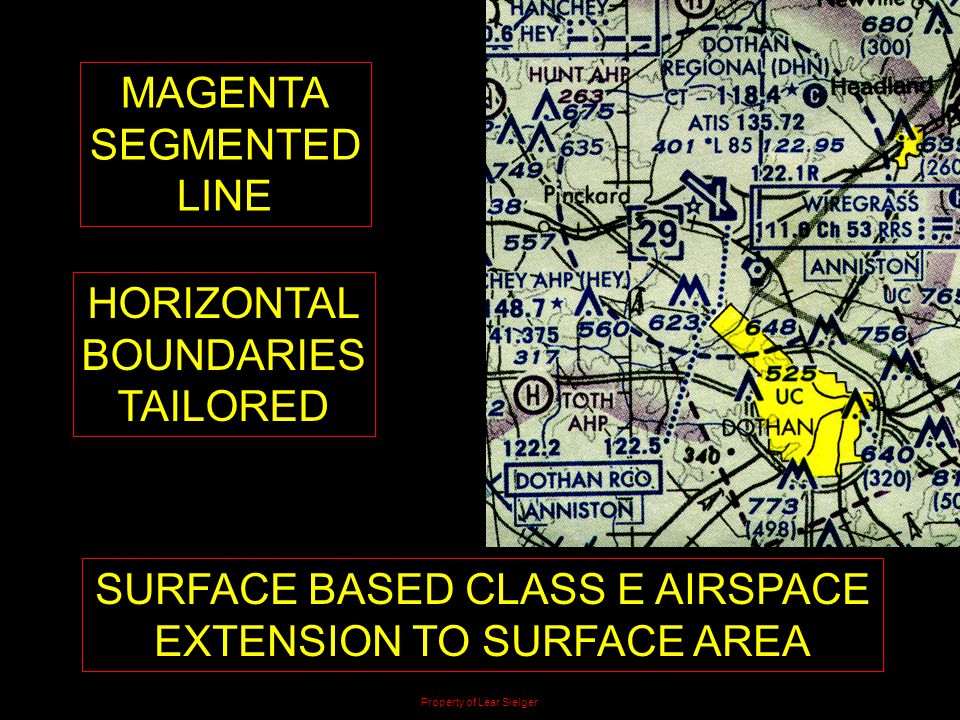 MAGENTA SEGMENTED LINE HORIZONTAL BOUNDARIES TAILORED SURFACE BASED CLASS E AIRSPACE EXTENSION TO SURFACE AREA Property of Lear Sielger