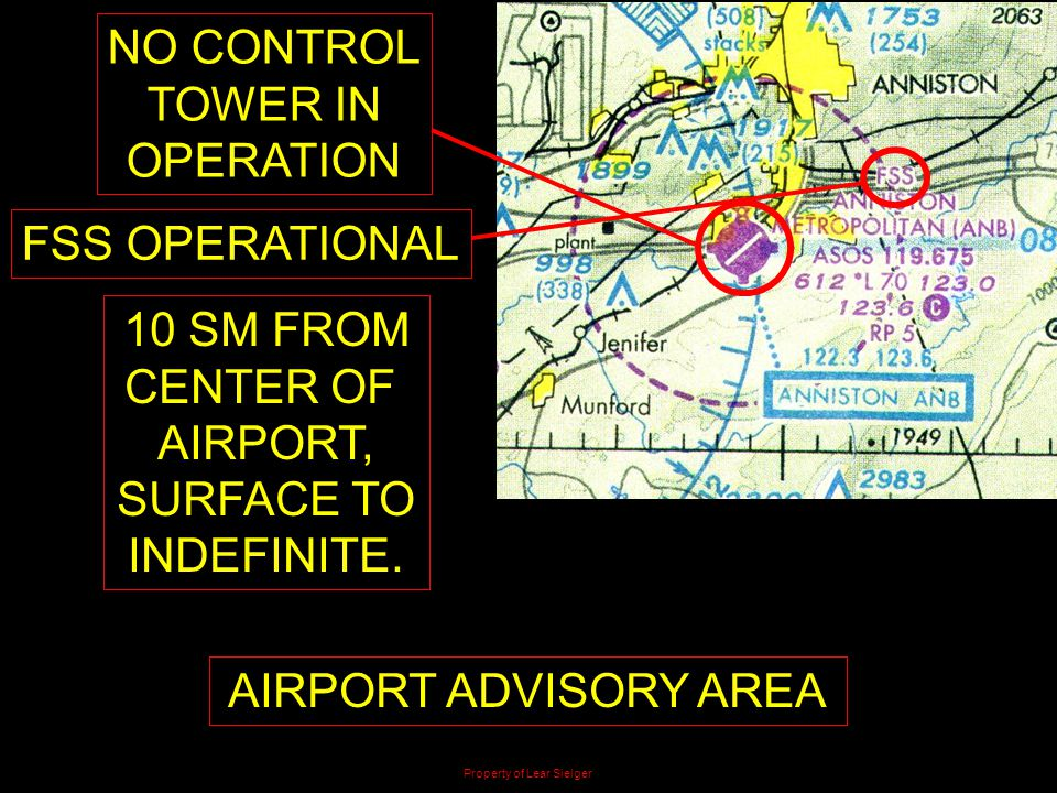 NO CONTROL TOWER IN OPERATION 10 SM FROM CENTER OF AIRPORT, SURFACE TO INDEFINITE. AIRPORT ADVISORY AREA FSS OPERATIONAL Property of Lear Sielger