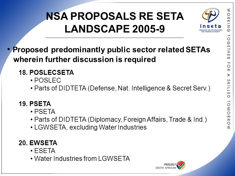 NSA PROPOSALS RE SETA LANDSCAPE 2005-9 ______________________________________________________________________________________________ Proposed predominantly public sector related SETAs wherein further discussion is required 18.