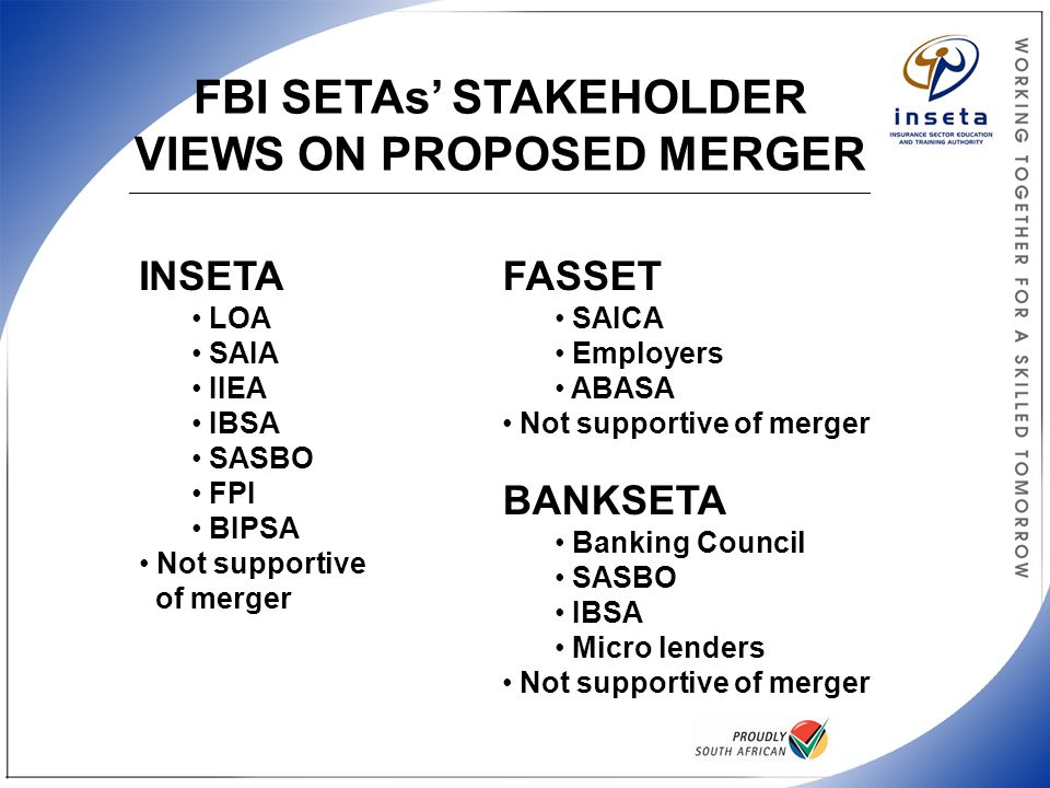 FBI SETAs' STAKEHOLDER VIEWS ON PROPOSED MERGER _________________________________________________________________________________________________________________ INSETA LOA SAIA IIEA IBSA SASBO FPI BIPSA Not supportive of merger FASSET SAICA Employers ABASA Not supportive of merger BANKSETA Banking Council SASBO IBSA Micro lenders Not supportive of merger