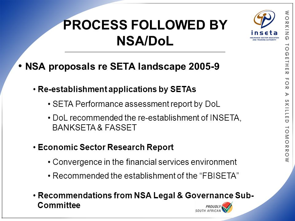 PROCESS FOLLOWED BY NSA/DoL _______________________________________________________________________________________ NSA proposals re SETA landscape 20