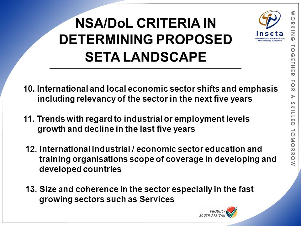 NSA/DoL CRITERIA IN DETERMINING PROPOSED SETA LANDSCAPE ______________________________________________________________________________________________