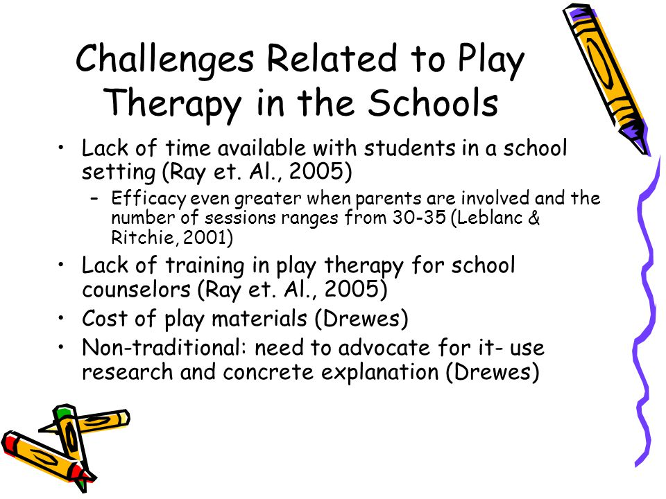 Challenges Related to Play Therapy in the Schools Lack of time available with students in a school setting (Ray et.