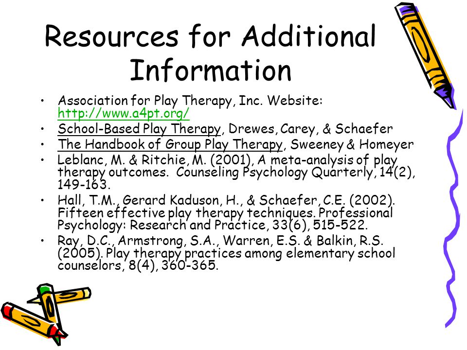 Resources for Additional Information Association for Play Therapy, Inc.