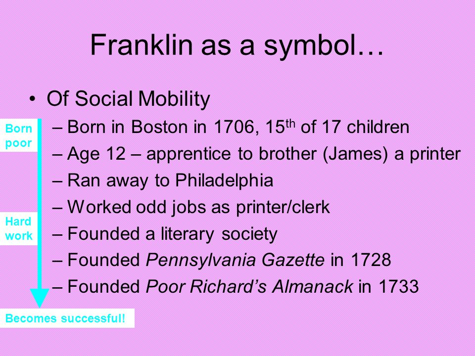 Hard work Franklin as a symbol… Of Social Mobility –Born in Boston in 1706, 15 th of 17 children –Age 12 – apprentice to brother (James) a printer –Ra