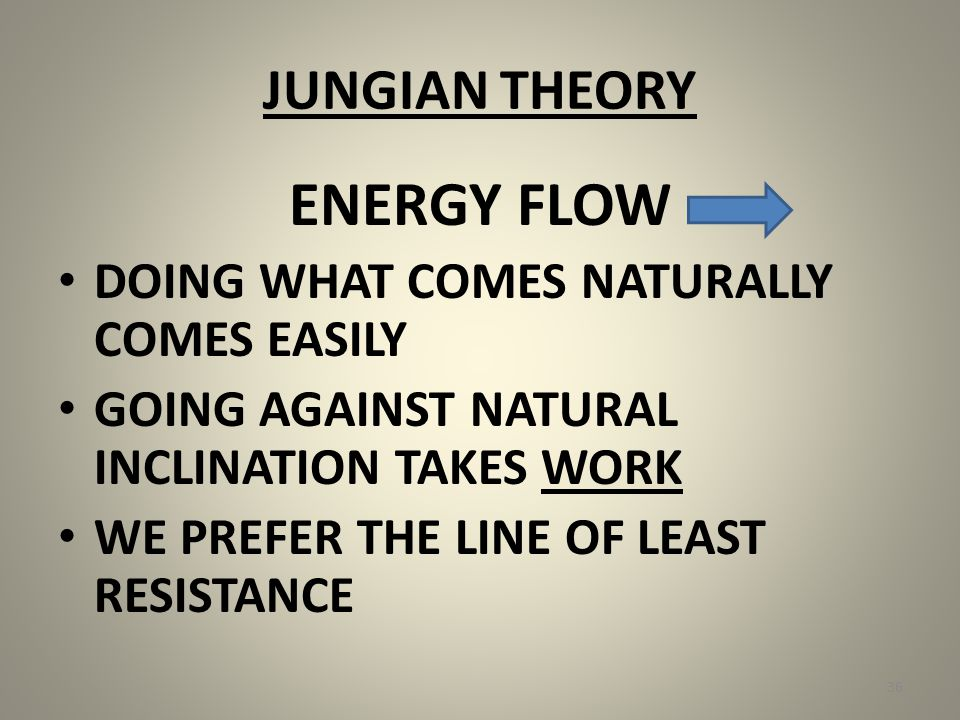 JUNGIAN THEORY ENERGY FLOW DOING WHAT COMES NATURALLY COMES EASILY GOING AGAINST NATURAL INCLINATION TAKES WORK WE PREFER THE LINE OF LEAST RESISTANCE 36