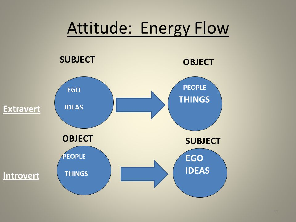 Attitude: Energy Flow SUBJECT OBJECT THINGS EGO IDEAS PEOPLE OBJECT SUBJECT Extravert Introvert PEOPLE THINGS EGO IDEAS 37