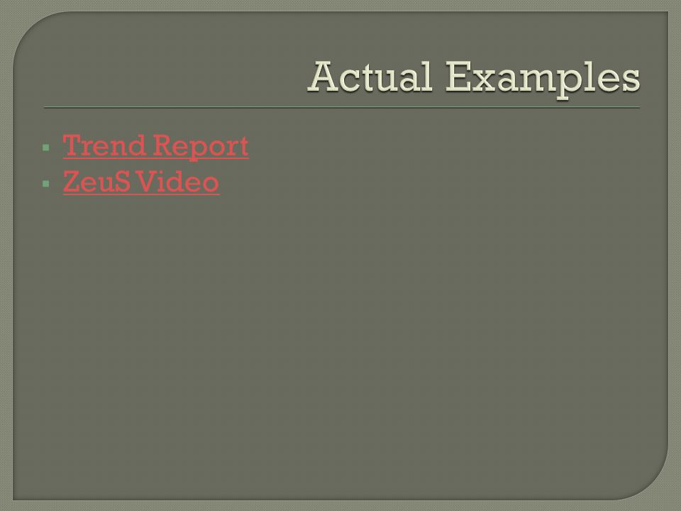  Trend Report Trend Report  ZeuS Video ZeuS Video
