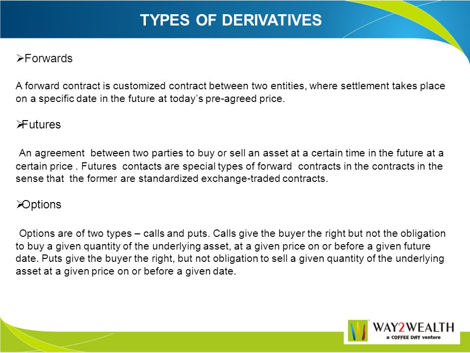 DERIVATIVE A product whose value is derived from the value of one or more basic variables, called bases (underlying asset, index or reference rate ),