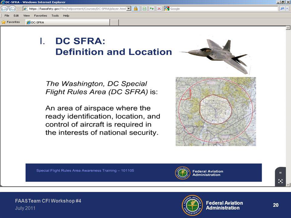 20 Federal Aviation Administration FAASTeam CFI Workshop #4 July 2011
