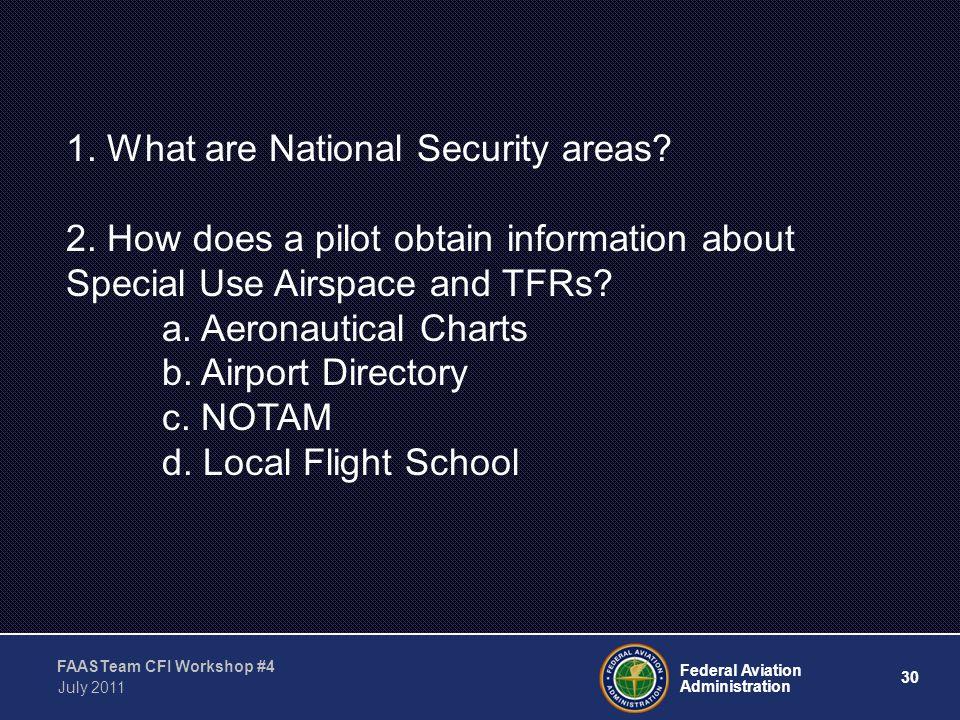 30 Federal Aviation Administration FAASTeam CFI Workshop #4 July 2011 1.