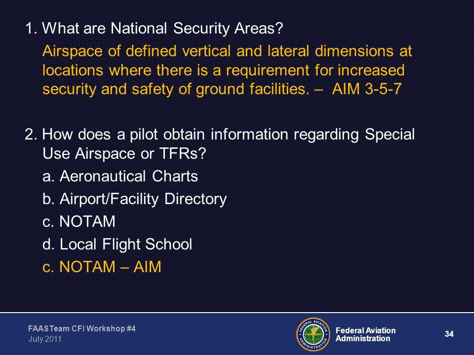 34 Federal Aviation Administration FAASTeam CFI Workshop #4 July 2011 1.