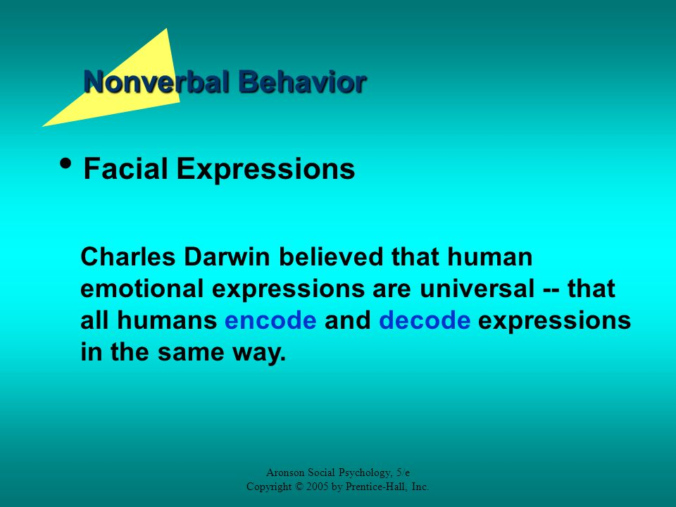 Aronson Social Psychology, 5/e Copyright © 2005 by Prentice-Hall, Inc. Nonverbal Behavior Facial Expressions Charles Darwin believed that human emotio