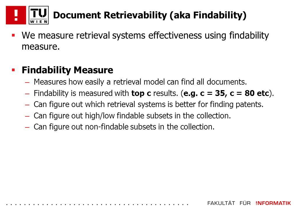 ......................................... Document Retrievability (aka Findability)  We measure retrieval systems effectiveness using findability mea